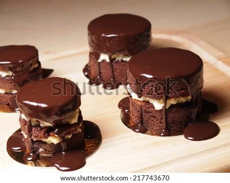 Chocolate cream cake, homemade bakery - stock photo