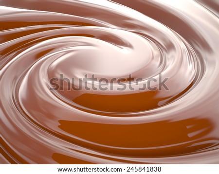 Chocolate cream swirl background, 3D - stock photo