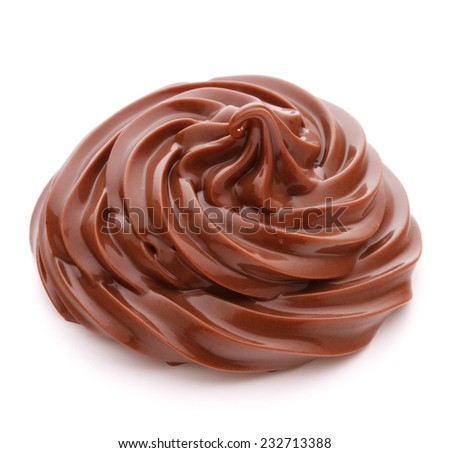 Chocolate cream swirl isolated on white background cutout - stock photo