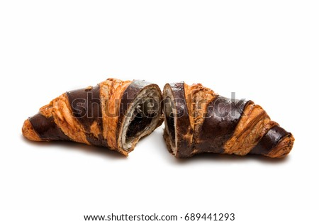 Chocolate croissant isolated on white background