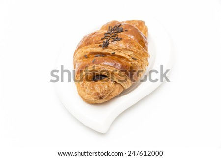 chocolate croissant on a white background - stock photo