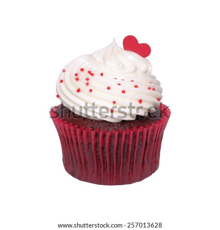 Chocolate cupcake cream white on white background. Red hearts for love. - stock photo