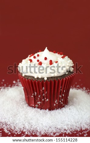 Chocolate cupcake decorated for Christmas.