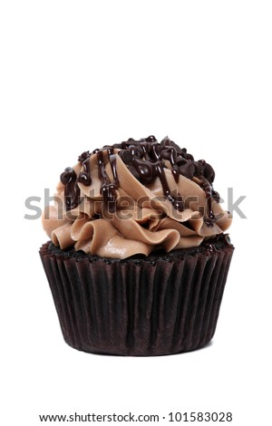 Chocolate cupcake isolated on white background. - stock photo