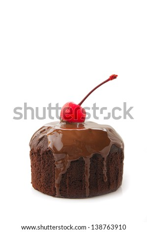 chocolate cupcake with cherry on a white background - stock photo