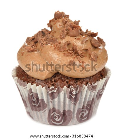 Chocolate cupcakes isolated on white background - stock photo