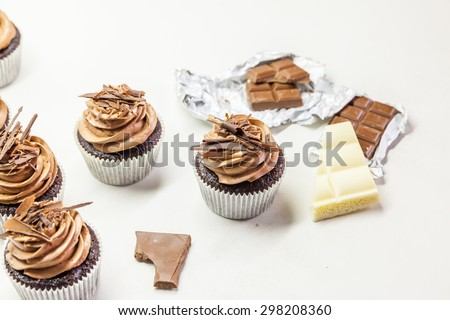 Chocolate cupcakes with chocolate chips - stock photo