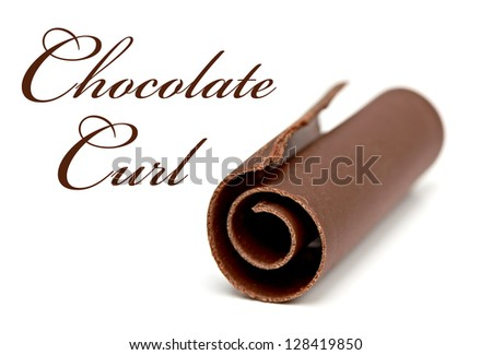 Chocolate Curl with shallow depth of field on white background - stock photo
