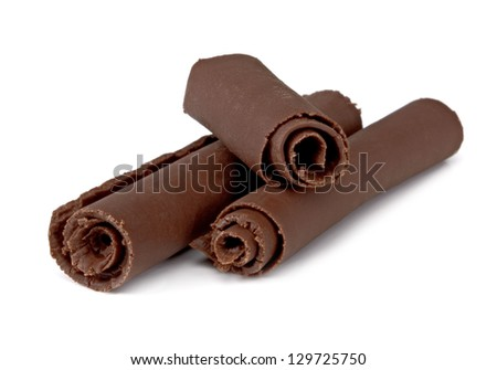 Chocolate Curls On White Background - stock photo
