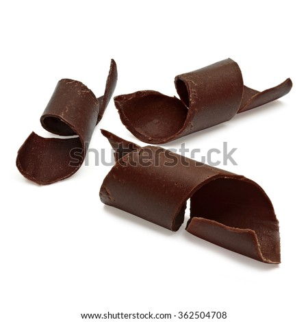 Chocolate curls on white background including clipping path - stock photo