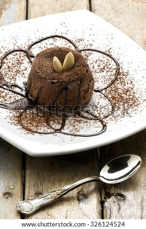 Chocolate dessert cake decorated with chocolate syrup almonds and cocoa powder - stock photo