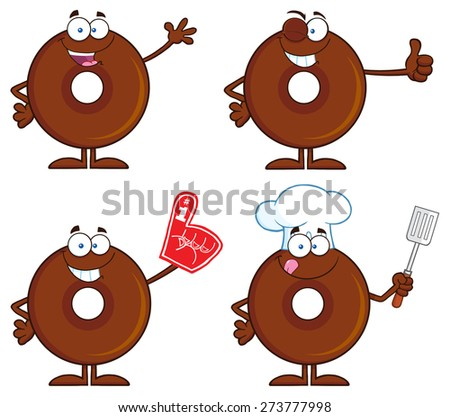Chocolate Donut Cartoon Character 1. Raster Collection Set Isolated On White - stock photo