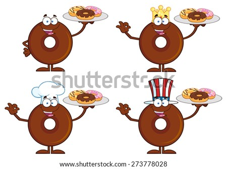 Chocolate Donut Cartoon Character 4.  Raster Collection Set Isolated On White - stock photo