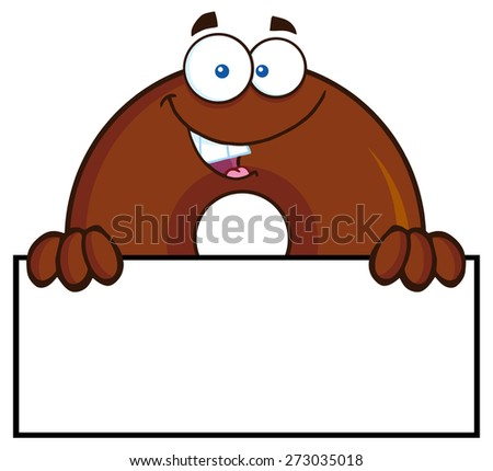 Chocolate Donut Cartoon Character With Over A Sign. Raster Illustration Isolated On White - stock photo
