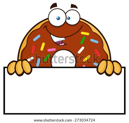 Chocolate Donut Cartoon Character With Sprinkles Over A Sign. Raster Illustration Isolated On White - stock photo
