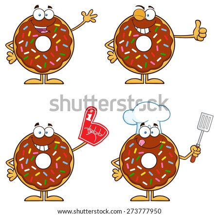 Chocolate Donut Cartoon Character With Sprinkles 5. Raster Collection Set Isolated On White - stock photo