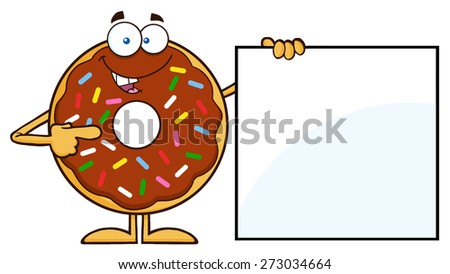Chocolate Donut Cartoon Character With Sprinkles Showing A Blank Sign. Raster Illustration Isolated On White - stock photo