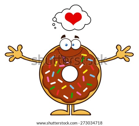 Chocolate Donut Cartoon Character With Sprinkles Thinking Of Love And Wanting A Hug. Raster Illustration Isolated On White - stock photo