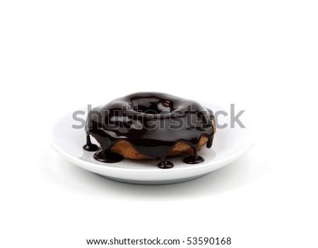 Chocolate donut isolated on white - stock photo
