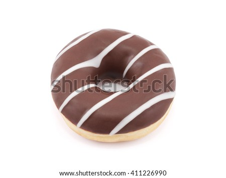 Chocolate donut isolated on white with clipping path - stock photo