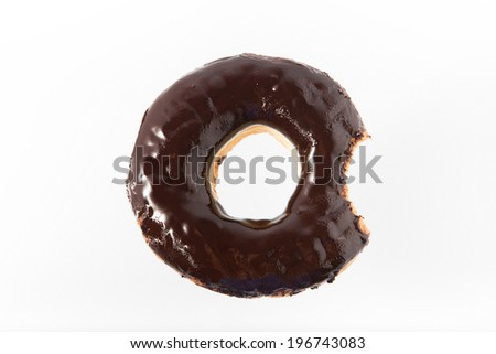 Chocolate Donut with Bite Missing Isolated on white Background