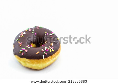 Chocolate donut with Sprinkles on white background.