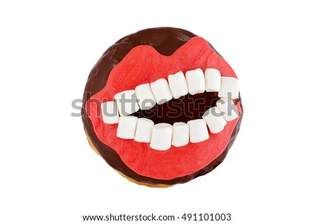 Chocolate donut with toothy smiling mouth isolated on white background