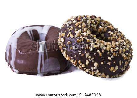 Chocolate donuts isolated on white