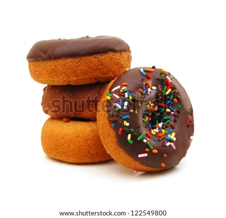 Chocolate Donuts with Sprinkles. Isolated on a White Background - stock photo
