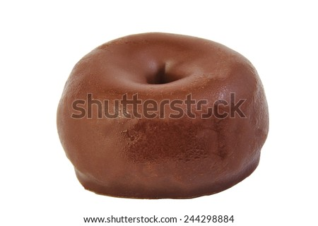 Chocolate doughnut isolated on white. Black donut - stock photo