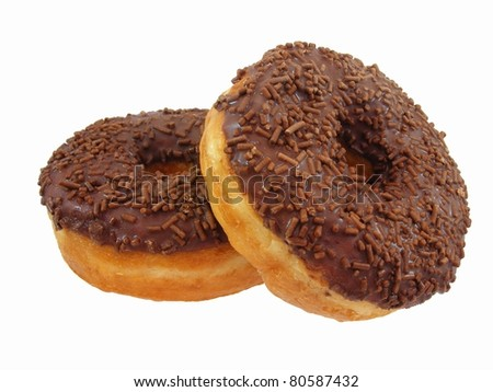 Chocolate Doughnuts Stacked - stock photo