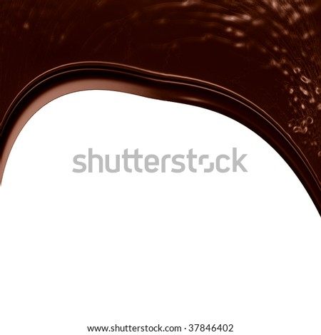 chocolate dripping down on a solid white background
