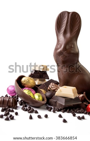Chocolate Easter and chocolate rabbit  on white background