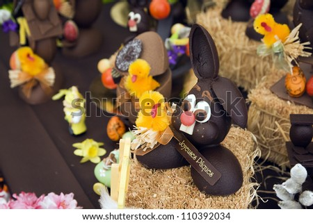 Chocolate Easter bunnies on display - stock photo