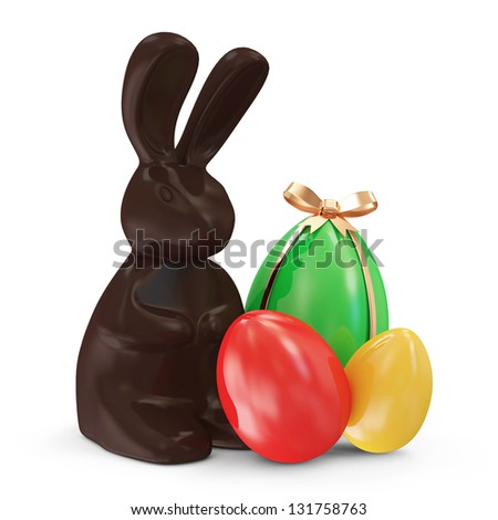 Chocolate Easter Bunny and Colorful Easter Eggs isolated on white background