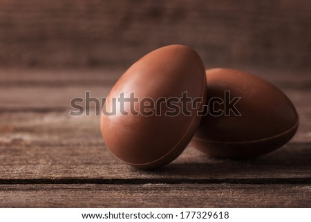 Chocolate Easter Egg Over Wooden Background