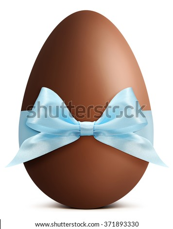 Chocolate Easter Egg with blue ribbon Bow isolated on white background - stock photo