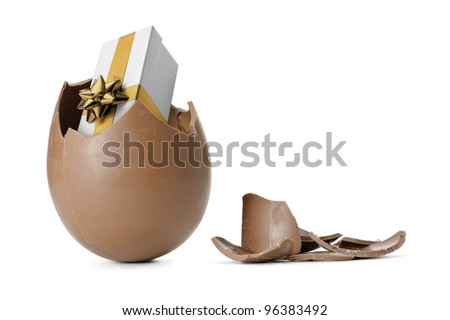 chocolate easter egg with gift box, isolated on white - stock photo