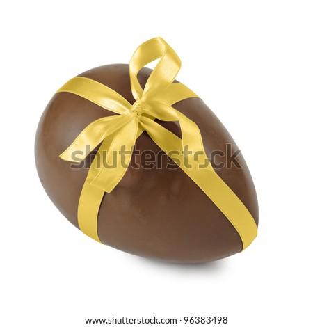 chocolate easter egg with gold ribbon, isolated on white