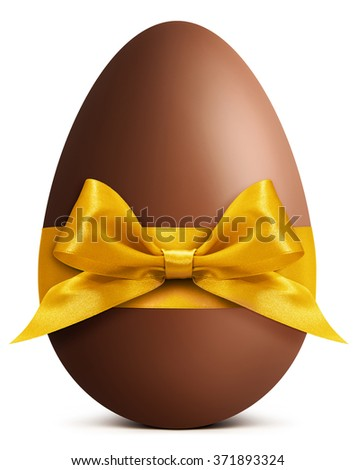 Chocolate Easter Egg with golden ribbon Bow isolated on white background - stock photo