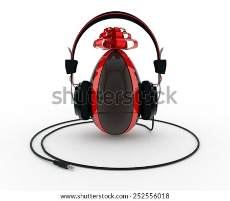 Chocolate Easter Egg with Headphones on White Background - stock photo