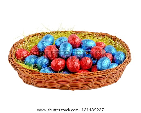 Chocolate easter eggs in a wicker basket.