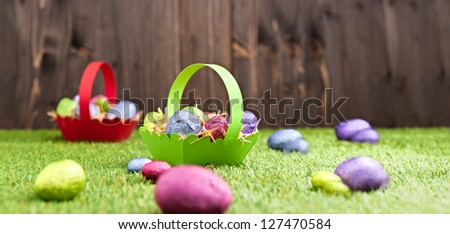 Chocolate Easter eggs in an outdoor setting