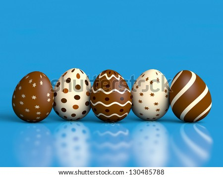 Chocolate easter eggs on blue with reflection and copy space (3D render)