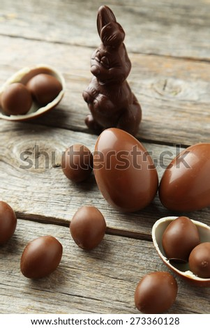 Chocolate easter eggs on grey wooden background