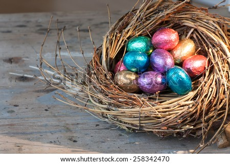 Chocolate easter eggs wrapped in coloured aluminium foil