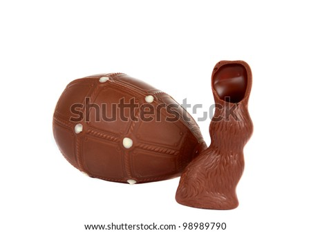 chocolate egg with a bunny on a white background