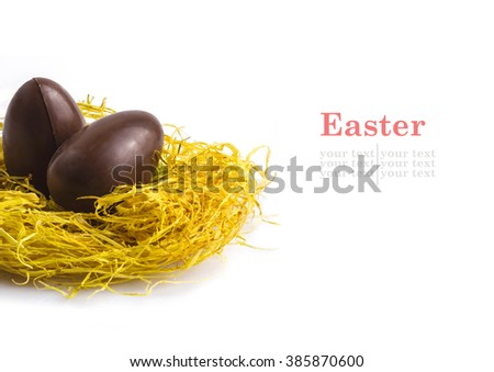Chocolate eggs in nest on white with text to be added