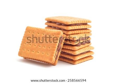 Chocolate filling biscuits on white - stock photo