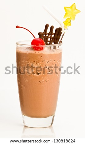 chocolate frappe,Iced chocolate drink with cherry on topping - stock photo
